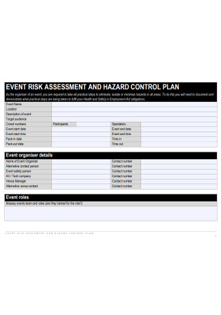 Event Risk Assessment Plan