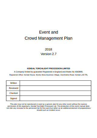 Event and Crowd Management Plan