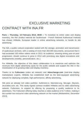 Exclusive Marketing Contract Example