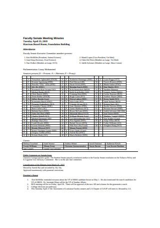 Faculty Senate Meeting Minutes Sample