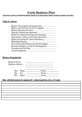 Farm Business Plan Sample