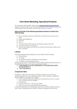 Farm and Agricutural Product Direct Marketing