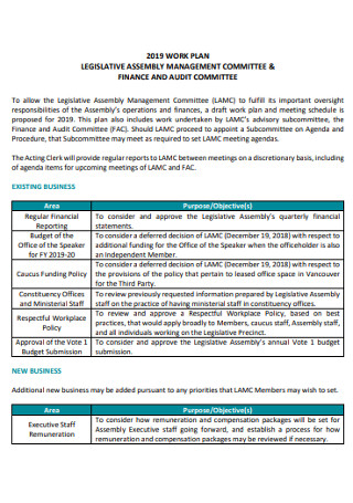 Finance Audit Committee Work Plan