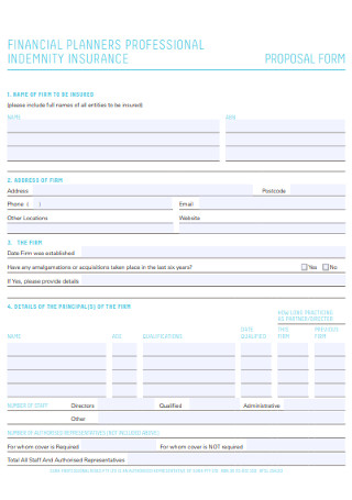Financial Event Planners proposal Form