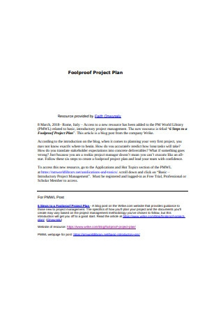Fool Proof Project Plan Sample