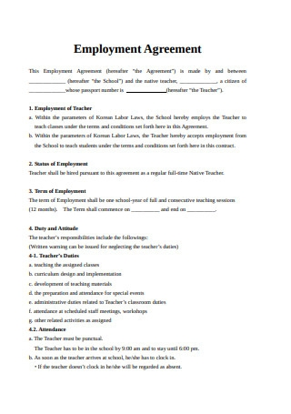 Formal Employment Agreement Sample