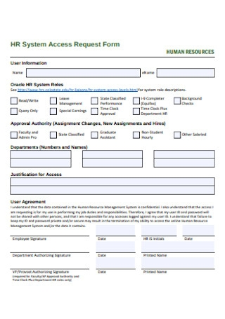 Formal HR Access Request Form