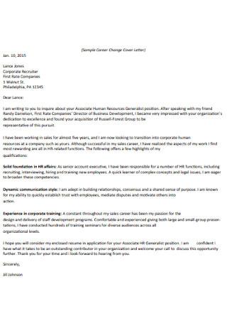Formal HR Cover Letter Sample