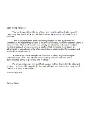 Formal HR Manager Cover Letter Sample