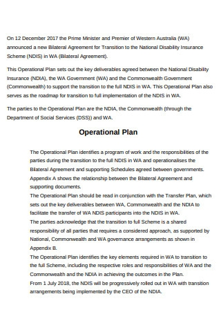 Formal Operational Plan