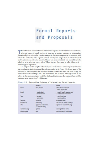 Formal Sales Reports and Proposals