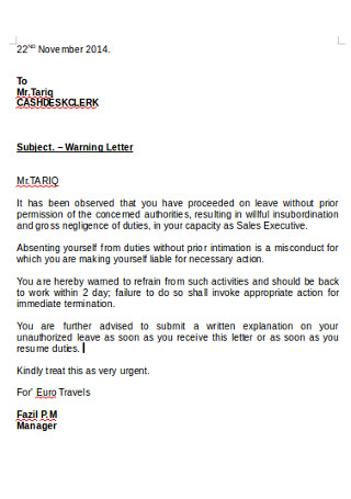Formal Warning Letter