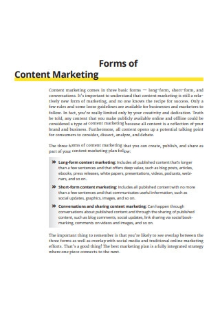 Forms of Content Marketing