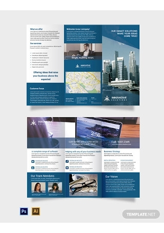 Free Business Solutions Tri Fold Brochure Template