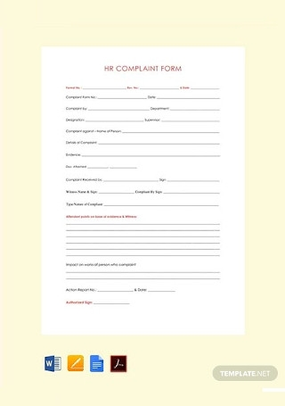 Free HR Complaint Form Template