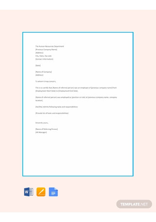 Free HR Reference Letter Template