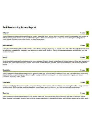 Full Personality Scales Report