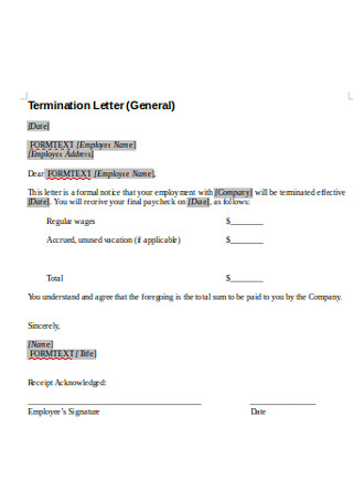 General Termination Letter Format