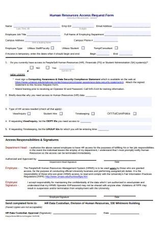 HR Access Request Form