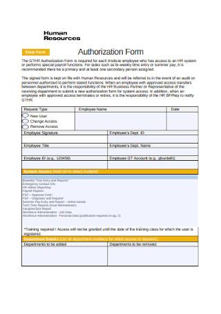HR Authorization Form