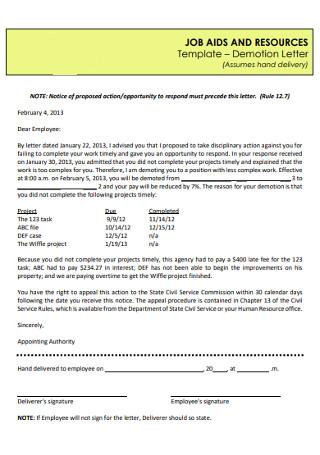HR Demotion Letter