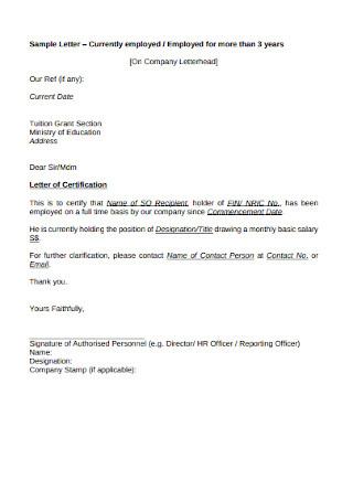 HR Employee Certification Cover Letter