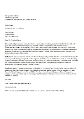HR Employee Cover Letter