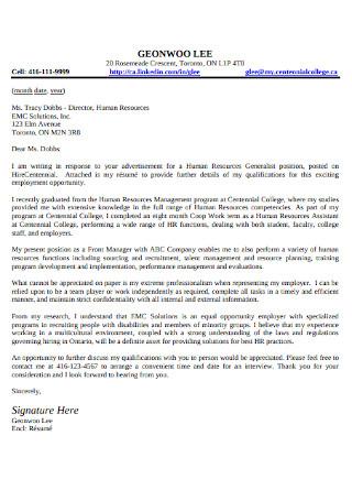 HR Generalist Cover Letter
