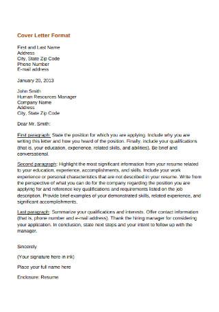 HR Manager Cover Letter Format