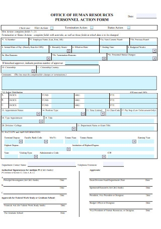 HR Personal Action Form