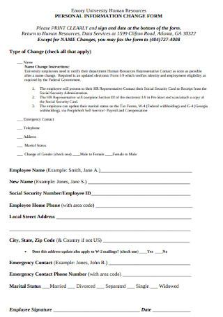 HR Personal Information Change Form