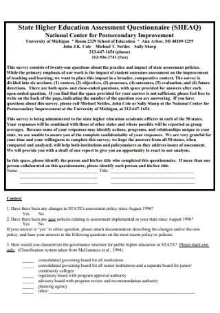 Higher Education Assessment Questionnaire
