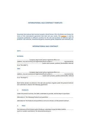 International Sales Contract Sample