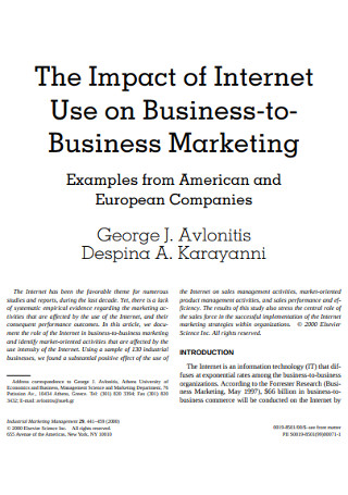 Internet Business to Business Marketing