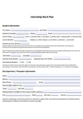 Internship Work Plan