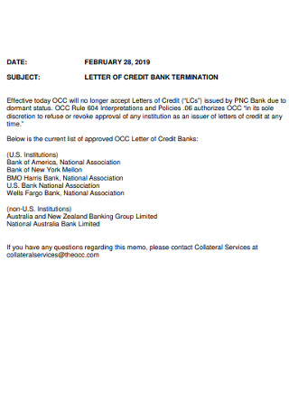 Letter of Credit Bank Termination