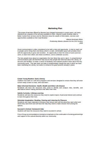 Library Marketing Plan Sample
