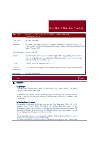 Main Board Meeting Minutes Sample