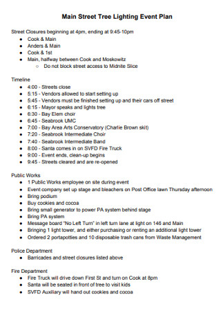 Main Street Tree Lighting Event Plan