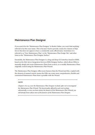 Maintenance Plan Designer