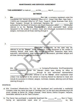 Maintenance and Service Agreement