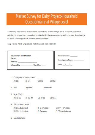 Market Survey for Project Questionnaire