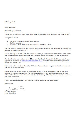 Marketing Assistant Applicant Letter