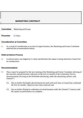 Marketing Contract Report Sample