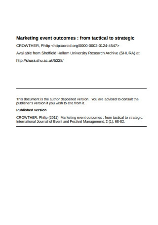 Marketing Event Outcomes from Tactical to Strategic