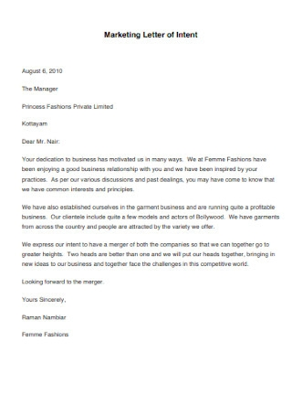 Marketing Letter of Intent