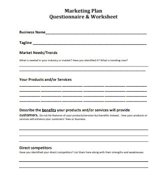 Marketing Plan Questionnaire