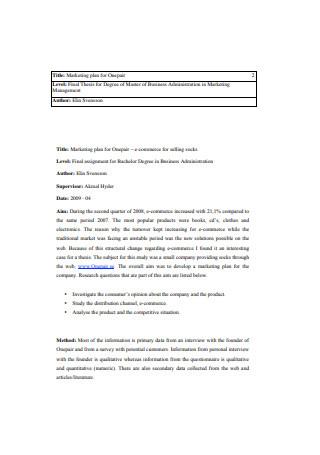 Marketing Plan for Onepair Sample