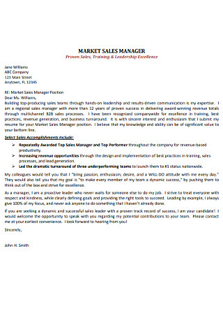 Marketing Sales Manager Cover Letter