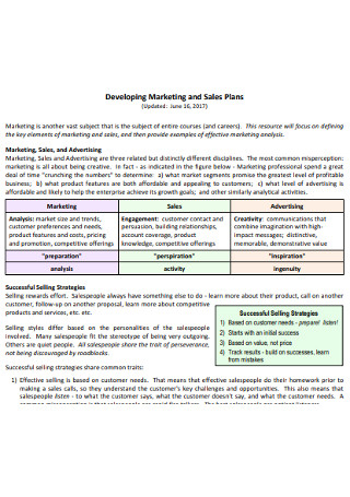 Marketing Sales Plans